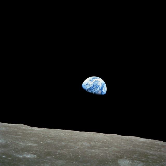"Earthrise December 24, 1968 photo taken aboard Apollo 8 by astronaut William Anders. ""Gaia is just symbiosis as seen from space."""
