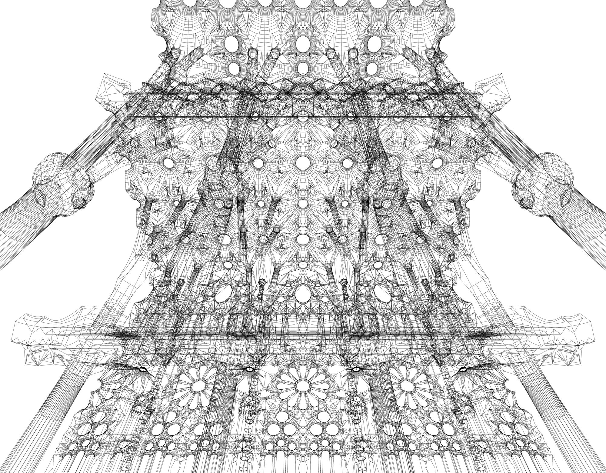 Line Drawing Using C : Sagrada familia cerebrovortex