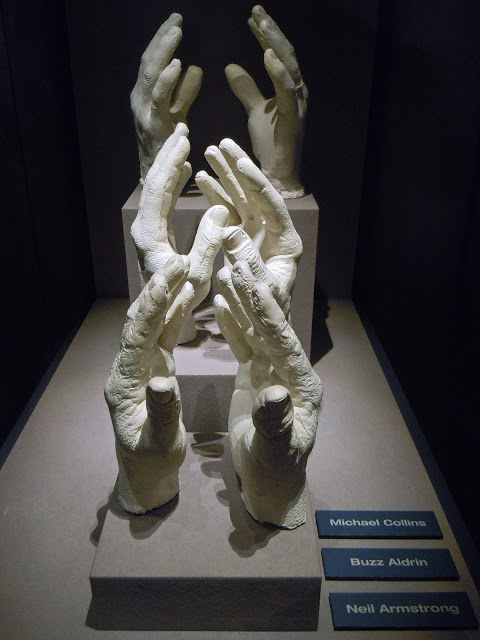 Plaster casts of the hands of the Apollo 11 astronauts on display in the Apollo Treasures Gallery at the Apollo-Saturn V Center at the Kennedy Space Center Visitor Complex, Cape Canaveral