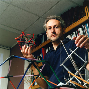 Donald Ingber Founder of Wyss Institute at Harvard University holding tensegrity models