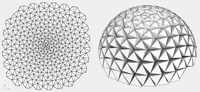 Tesselated tensegrity Ron Reush folded dome